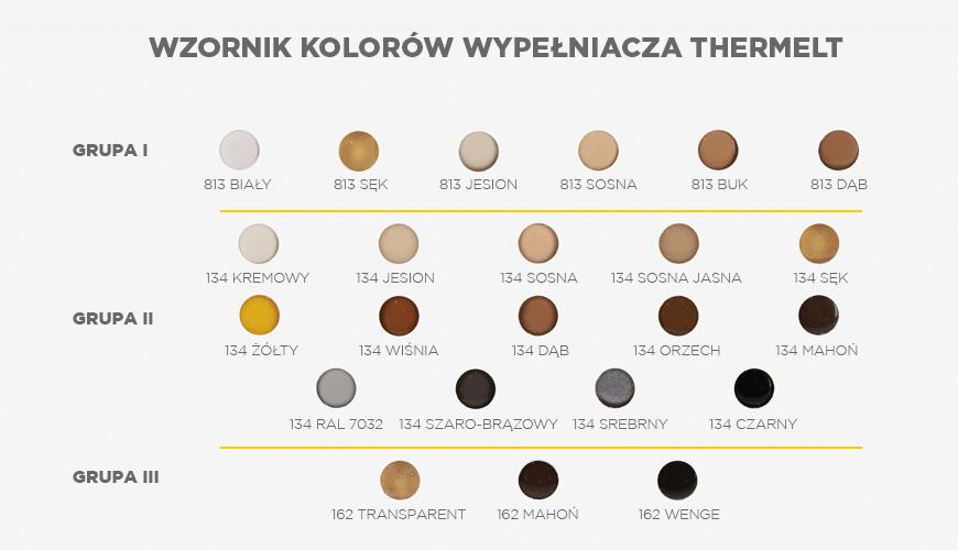 Wypełniacz (klej) jest dostępnym w wielu kolorach celem lepszego dopasowania do odcienia drewna.